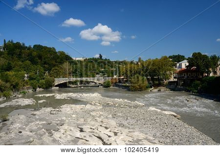 View Of Bridge Over Rioni River In Kutaisi, Georgia,imereti, Caucasus