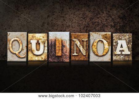 Quinoa Letterpress Concept On Dark Background