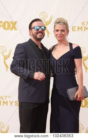 LOS ANGELES - SEP 20:  Ricky Gervais at the Primetime Emmy Awards Arrivals at the Microsoft Theater on September 20, 2015 in Los Angeles, CA