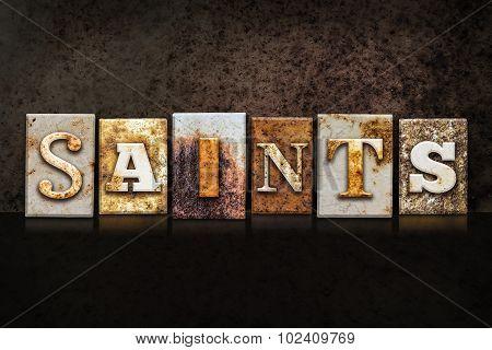 Saints Letterpress Concept On Dark Background