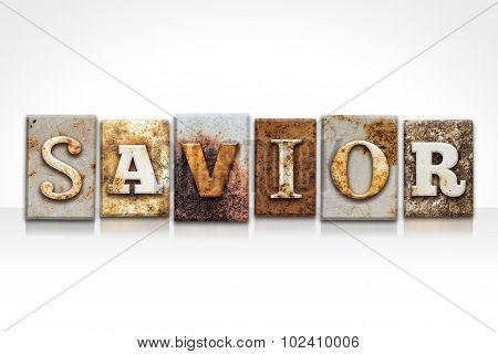 Savior Letterpress Concept Isolated On White
