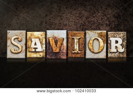 Savior Letterpress Concept On Dark Background
