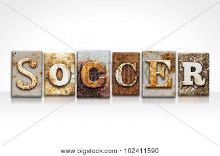Soccer Letterpress Concept Isolated On White