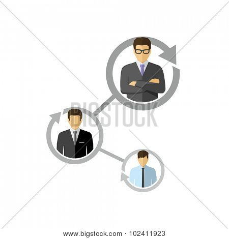 Business People Career Path Growth Flat Design Style Vector Icon