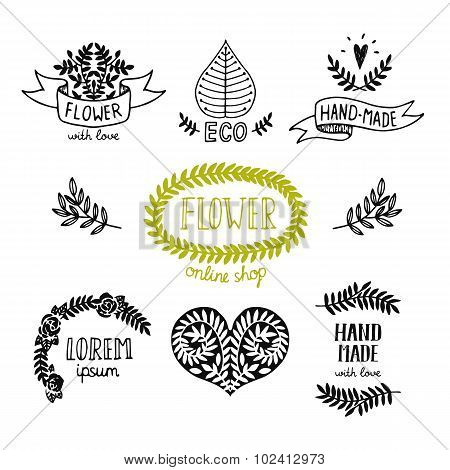 Hand drawn natural logos