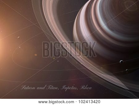 The Saturn with moons from space showing all they beauty. Extremely detailed image, including elemen