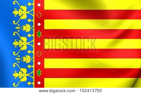 Flag Of Valencian Community, Spain.