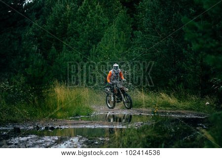 Enduro racer on the track