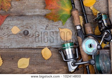 Fishing Tackles On Board With Leafs Autumn