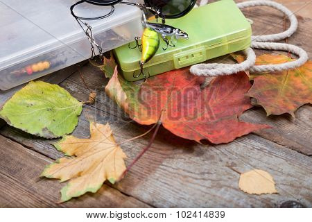 Box A Fishing Tackles On Board With Leafs Autumn