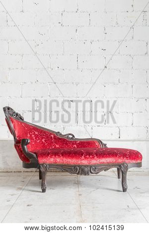 modern red sofa contemporary style in vintage room
