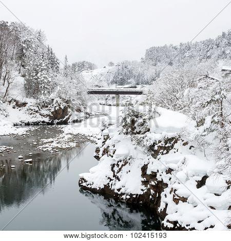Beautiful Snowfall winter landscape Shirakawago Japan