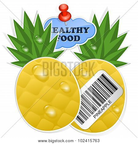 Pineapple Icon With Barcode And Healthy Food Sticker. Vector Illustration