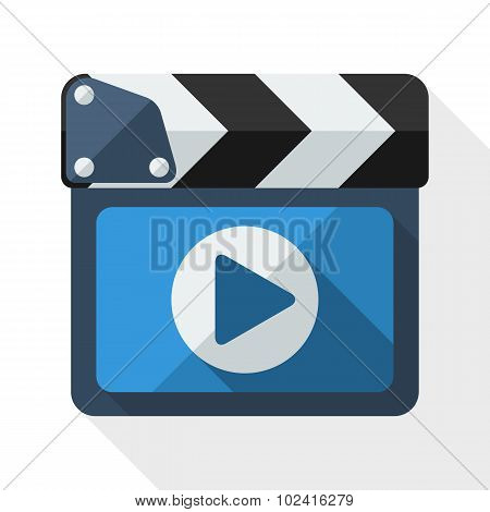 Clapboard Icon With Long Shadow On White Background