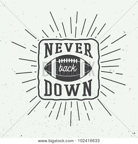 Rugby Or American Football Ball With Typography.