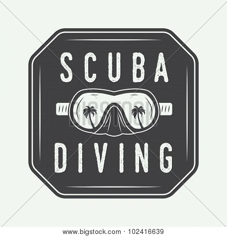 Diving Logo, Label In Vintage Style.