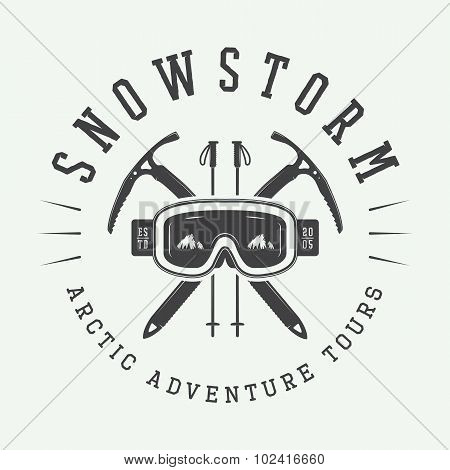 Vintage Arctic Mountaineering Logo, Badge, Emblem.