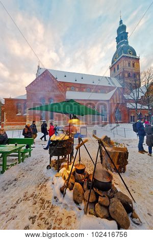 Tourists Enjoy The Christmas Market In The City Center