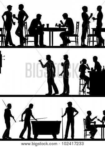 Set of eps8 editable vector cutout foreground silhouettes of typical British pub games with all elements as separate objects