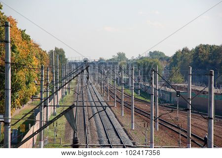 Railroad tracks of the electrified railway