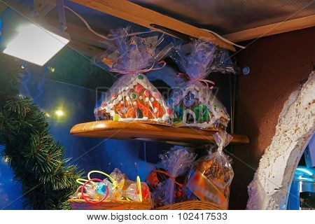 Traditional Souvenirs At The European Christmas Market - A Gingerbread House