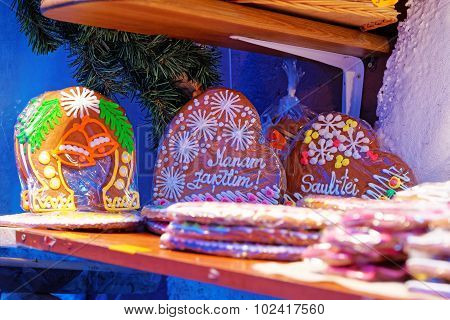 Traditional Souvenirs At The European Christmas Market - A Gingerbread Heart