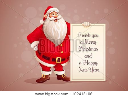 Merry Santa Claus standing with christmas greetings banner in arm. Eps10 vector illustration
