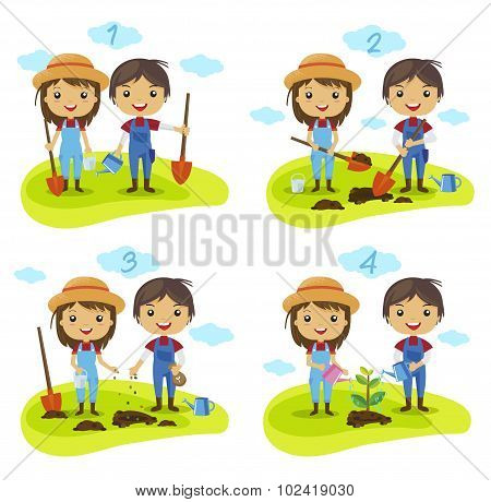Farmers Cartoon Characters planting tree process
