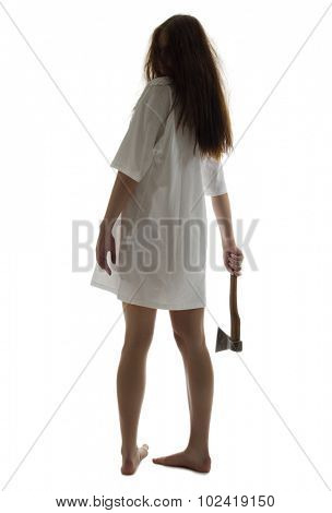 Zombie girl with axe isolated on white