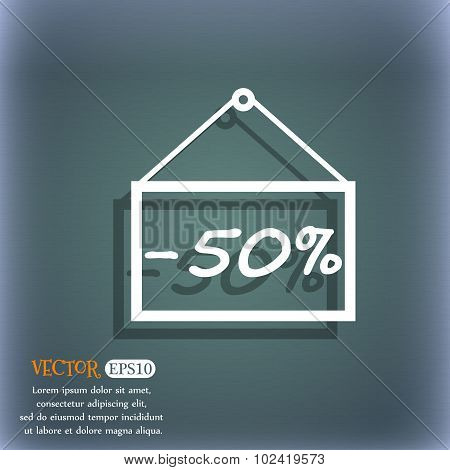50 Discount Icon Sign. On The Blue-green Abstract Background With Shadow And Space For Your Text. Ve