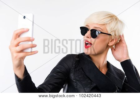 Girl Making Selfie With Red Lips And Sunglasses