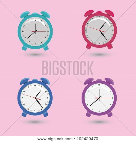 Set of alarms with different dials