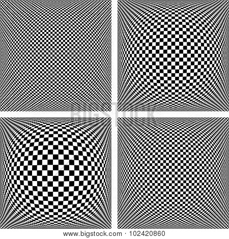 Chequered patterns set. Abstract textured geometric backgrounds. Vector art.