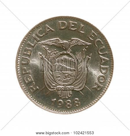 Coin One Sucre, Ecuador, Isolated On A White Background. Top View