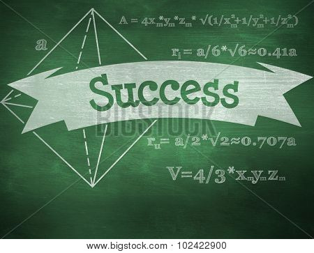 The word success and math problems against green chalkboard