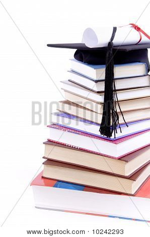 Student Hat, Diploma  And Books -
