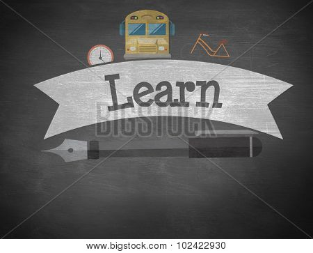 The word learn and school graphics against black background