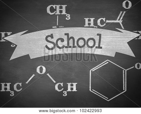 The word school and science formula against black background