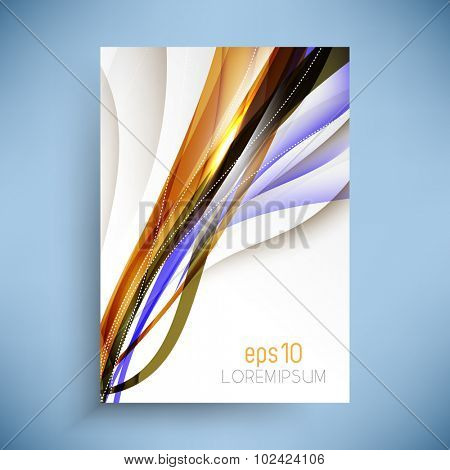 isolated brochure leaflet with bend lines wave elements concept design illustration