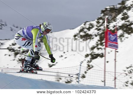 ZAUCHENSEE AUSTRIA. 06 JANUARY 2011.  Viktoria Rebensburg (GER)akes to the air in the first training run for the downhill race part of FIS Alpine World Cup, in Zauchensee Austria.