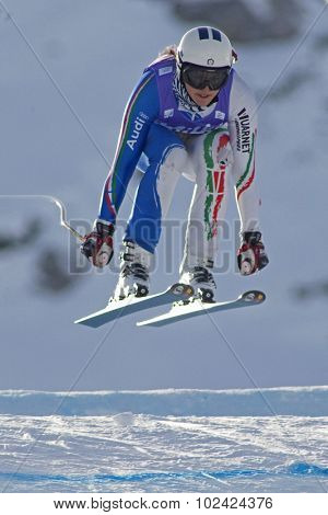 ZAUCHENSEE AUSTRIA. 07 JANUARY 2011.  Enrica Cipriani (ITA) takes to the air during the second official training run for the downhill race part of FIS Alpine World Cup, in Zauchensee Austria.