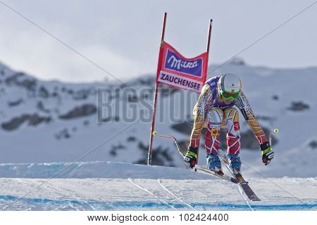 ZAUCHENSEE AUSTRIA. 07 JANUARY 2011.  Britt Janyk (CAN) takes to the air during the second official training run for the downhill race part of FIS Alpine World Cup, in Zauchensee Austria.