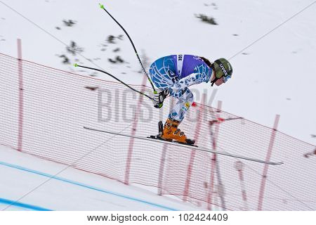 ZAUCHENSEE AUSTRIA. 06 JANUARY 2011.  Stacey Cook (USA) takes to the air in the first training run for the downhill race part of FIS Alpine World Cup, in Zauchensee Austria.
