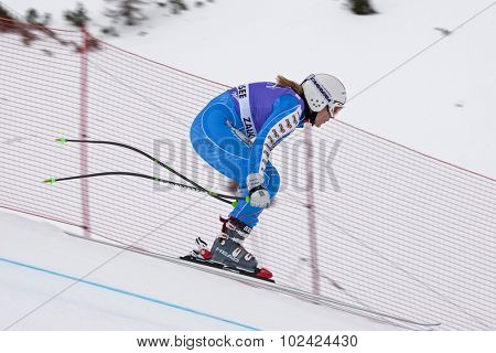 ZAUCHENSEE AUSTRIA. 06 JANUARY 2011.  Anja Paerson (SWE) takes to the air in the first training run for the downhill race part of FIS Alpine World Cup, in Zauchensee Austria.
