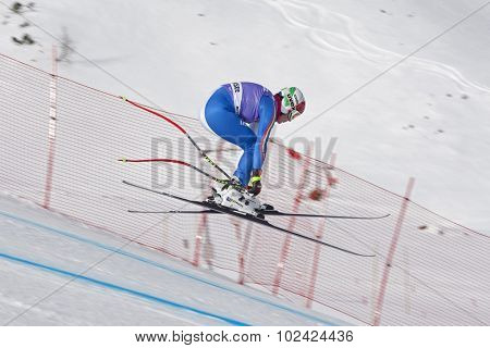 ZAUCHENSEE AUSTRIA. 06 JANUARY 2011.  Daniela Merighetti (ITA) takes to the air in the first training run for the downhill race part of FIS Alpine World Cup, in Zauchensee Austria.