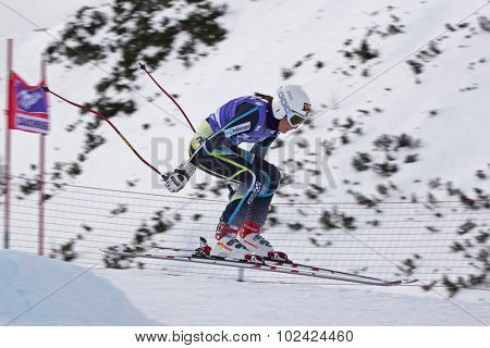 ZAUCHENSEE AUSTRIA. 06 JANUARY 2011.  Lotte Smiseth Sejersted (NOR) takes to the air in the first training run for the downhill race part of FIS Alpine World Cup, in Zauchensee Austria.