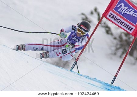 ZAUCHENSEE AUSTRIA. 08 JANUARY 2011.  Elisabeth Goergl (AUT) speeds down the course competing in the downhill race part of FIS Alpine World Cup, in Zauchensee Austria.