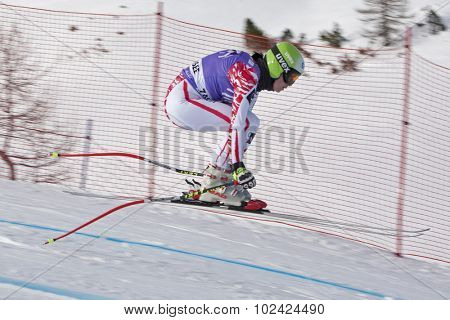 ZAUCHENSEE AUSTRIA. 06 JANUARY 2011.  Anna Fenninger (AUT) takes to the air in the first training run for the downhill race part of FIS Alpine World Cup, in Zauchensee Austria.