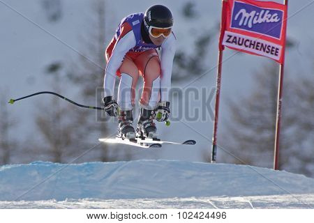 ZAUCHENSEE AUSTRIA. 07 JANUARY 2011.  Alexandra Coletti (MON) takes to the air during the second official training run for the downhill race part of FIS Alpine World Cup, in Zauchensee Austria.