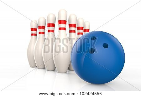 Bowling Skittles And Blue Ball Isolated